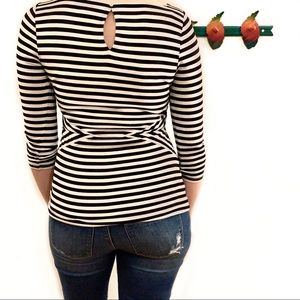 White House Black Market Tops - ❌SOLD❌ WHBM Striped 3/4 Sleeve Keyhole Back Top